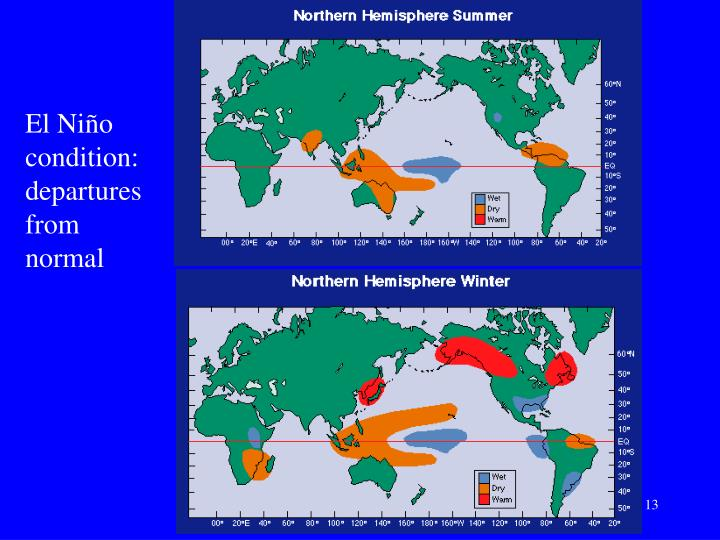 El Niño condition: departures from normal