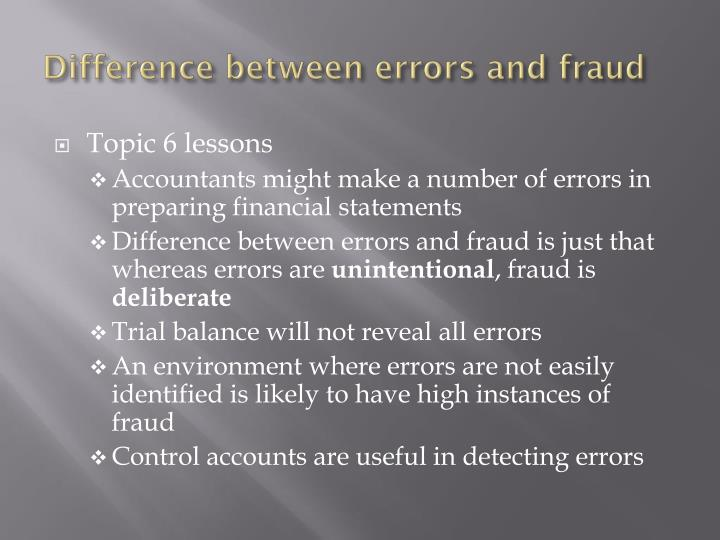 Difference between errors and fraud