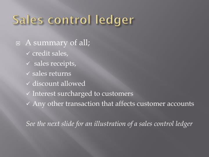 Sales control ledger