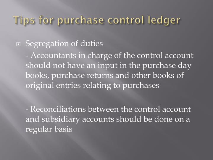 Tips for purchase control ledger