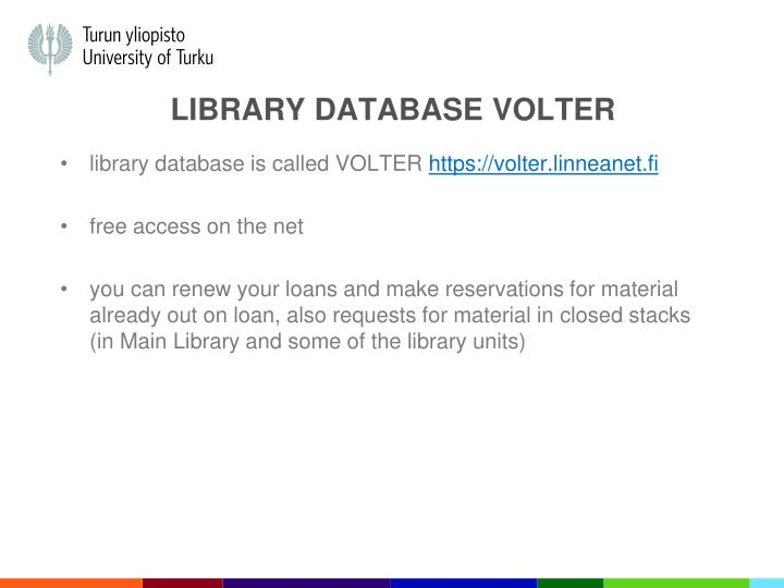 Library DATABASE Volter