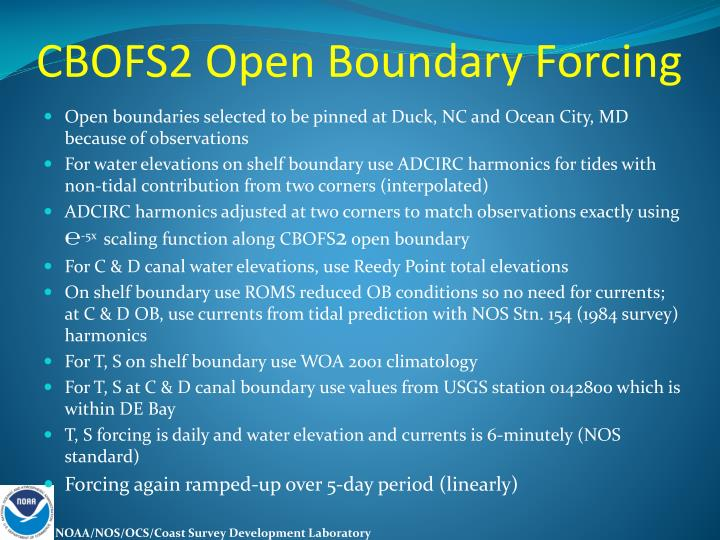 CBOFS2 Open Boundary Forcing