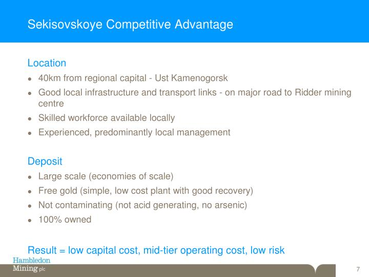Sekisovskoye Competitive Advantage