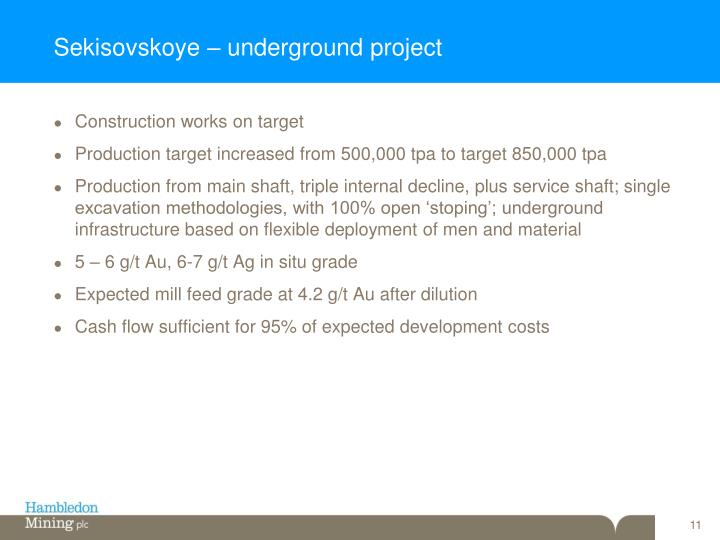 Sekisovskoye – underground project