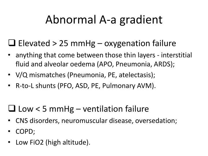 Abnormal A-a gradient