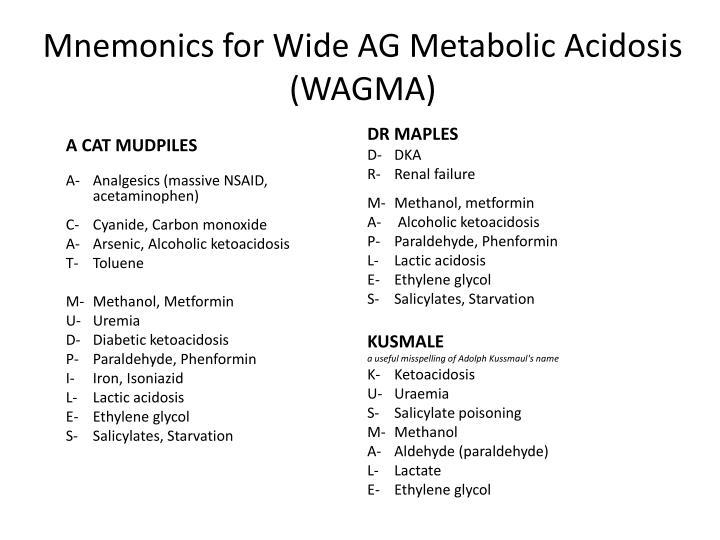 Mnemonics for Wide AG Metabolic Acidosis  (WAGMA)