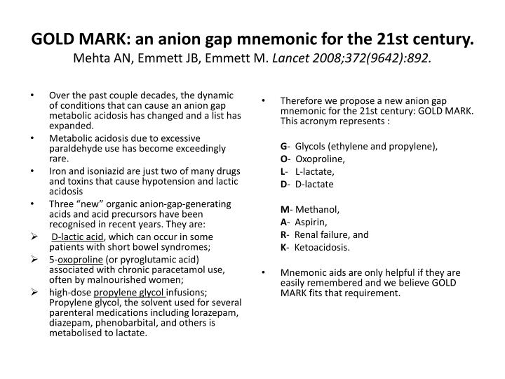 GOLD MARK: an anion gap mnemonic for the 21st century.
