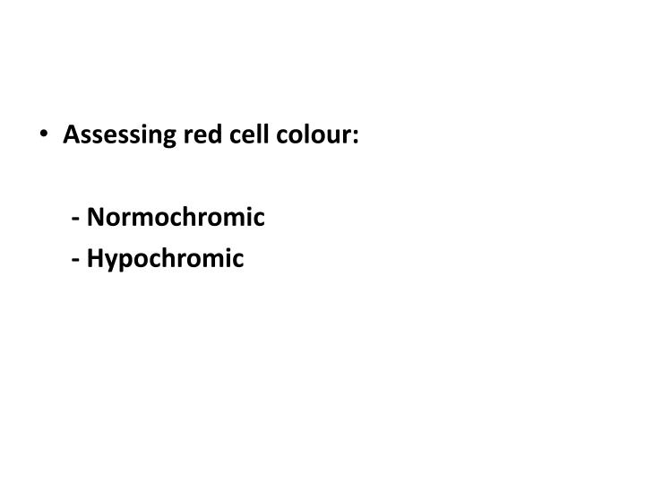 Assessing red cell