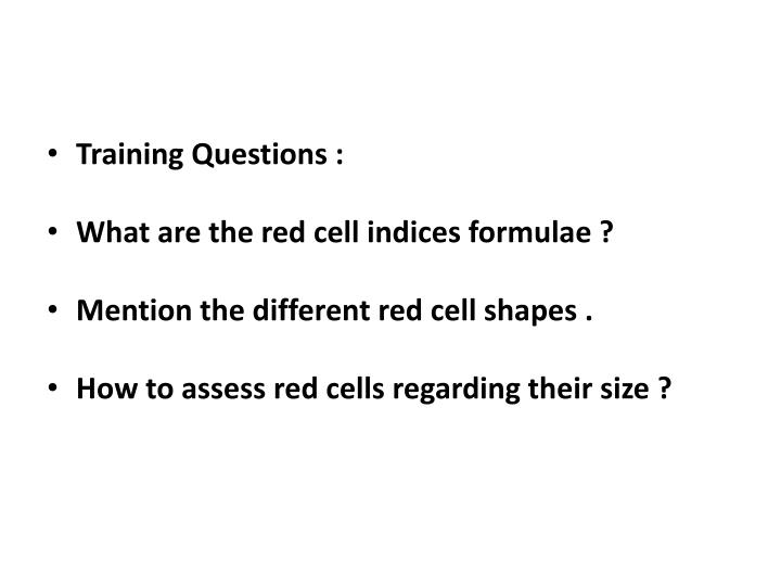 Training Questions :