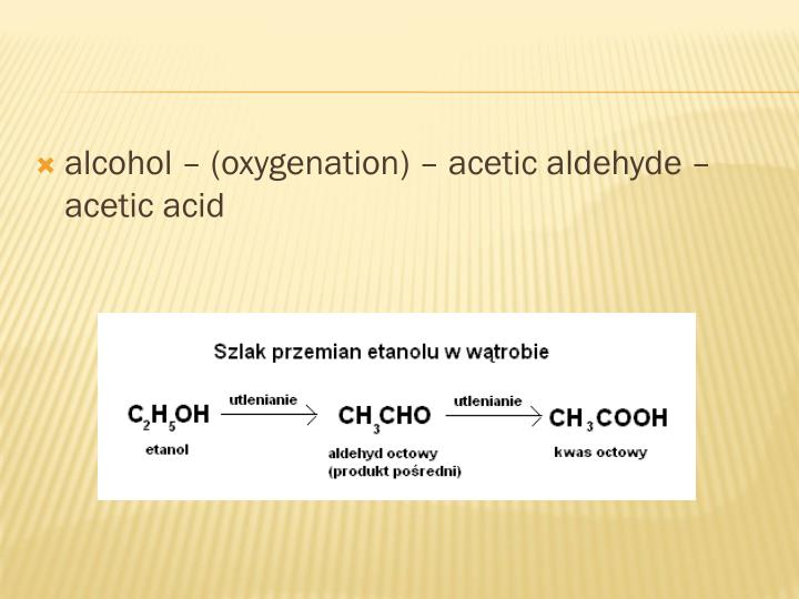 alcohol – (oxygenation) – acetic