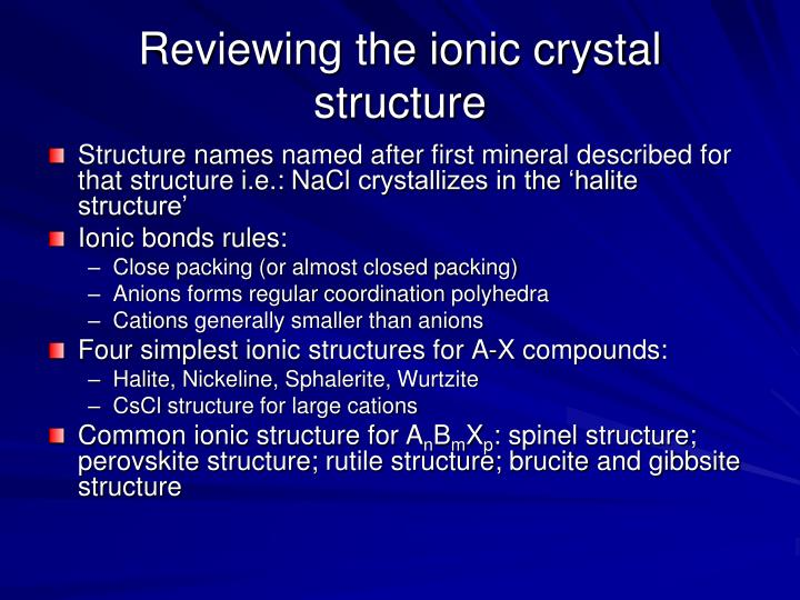 Reviewing the ionic crystal structure