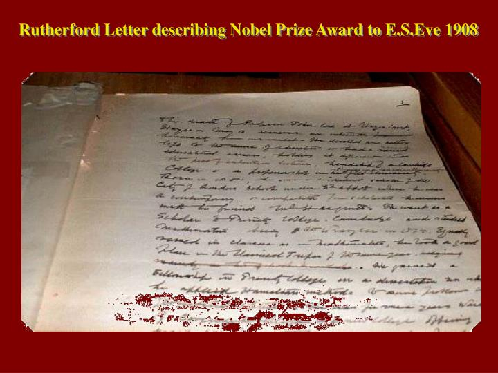 Rutherford Letter describing Nobel Prize Award to E.S.Eve 1908
