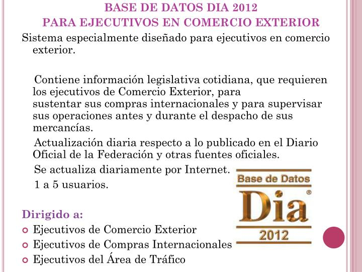 BASE DE DATOS DIA 2012