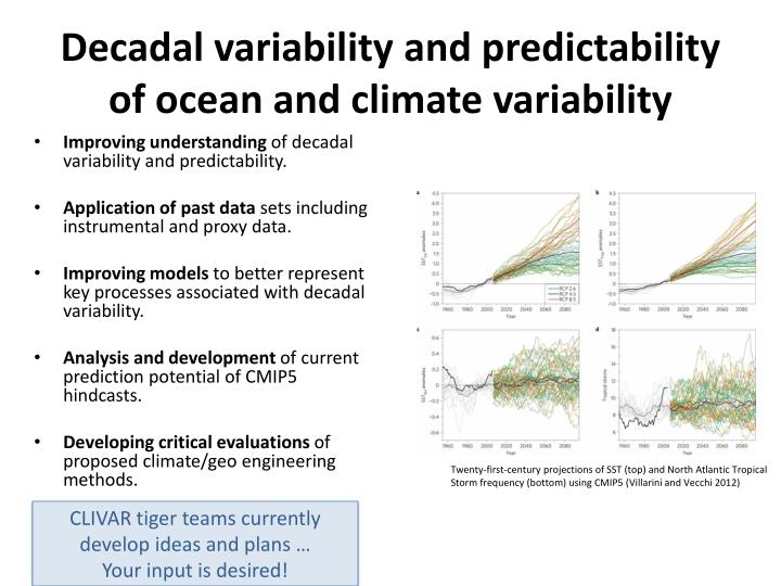 Decadal variability and predictability of ocean and climate