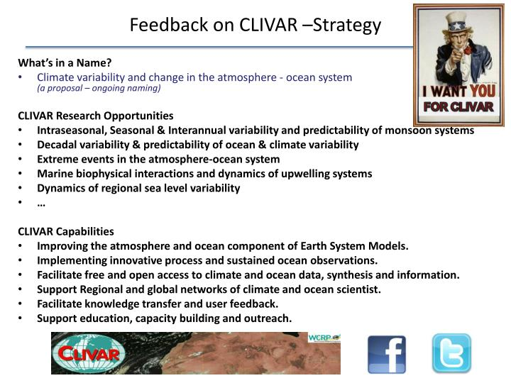 Feedback on CLIVAR –Strategy