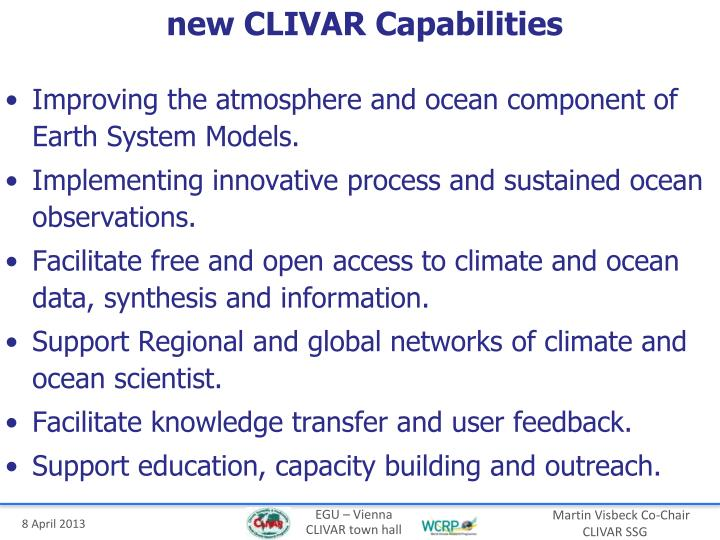 new CLIVAR Capabilities