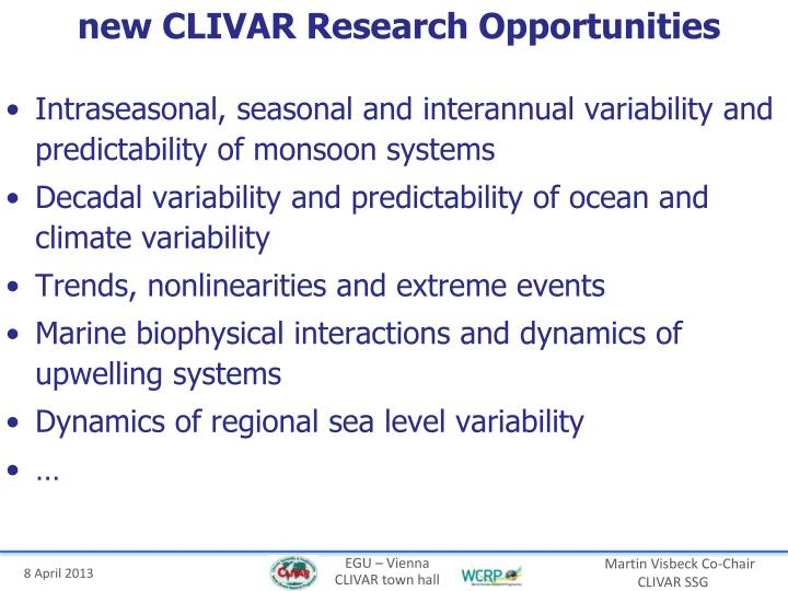 new CLIVAR Research Opportunities
