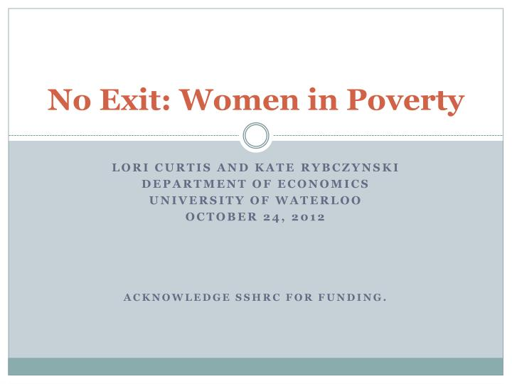 No exit women in poverty