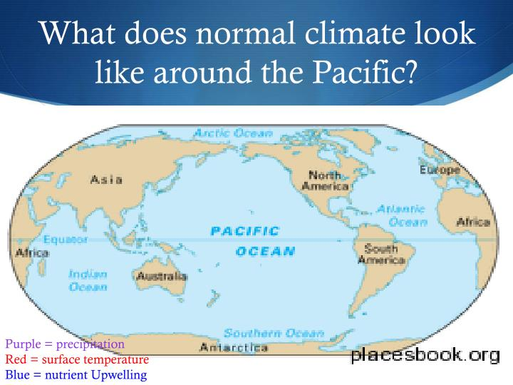 What does normal climate look like around the Pacific?