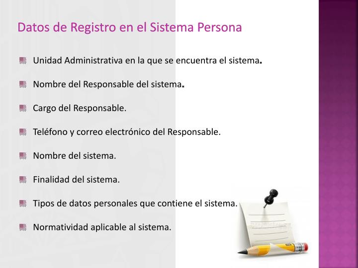 Datos de Registro en el Sistema Persona