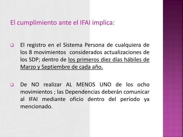 El cumplimiento ante el IFAI implica: