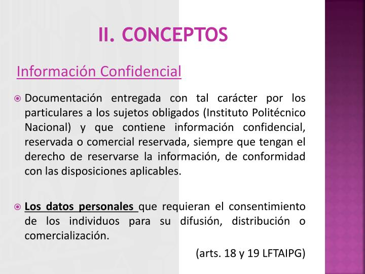 II. CONCEPTOS