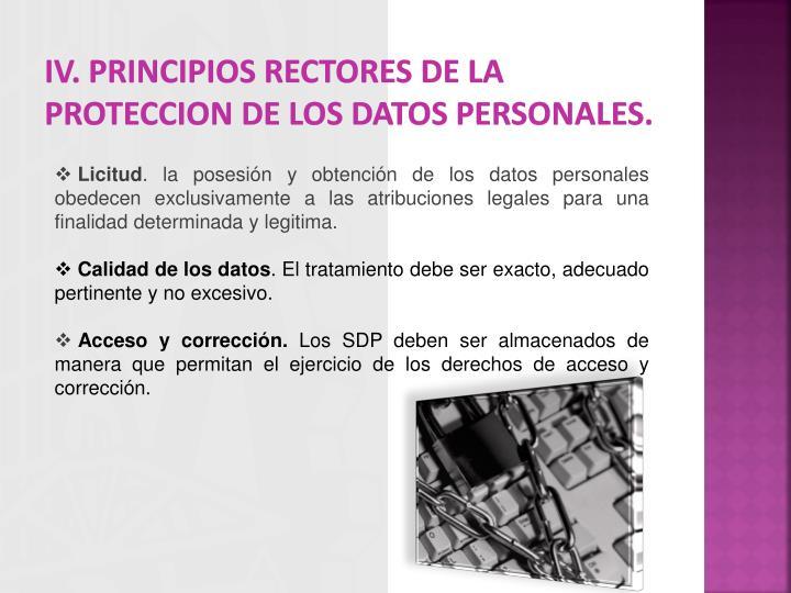 IV. PRINCIPIOS RECTORES DE LA PROTECCION DE LOS DATOS PERSONALES.