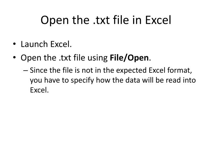 Open the .txt file in Excel