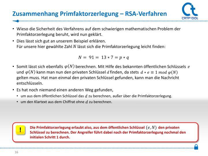 Zusammenhang Primfaktorzerlegung – RSA-Verfahren