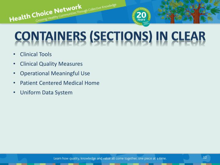 CONTAINERS (Sections) in CLEAR