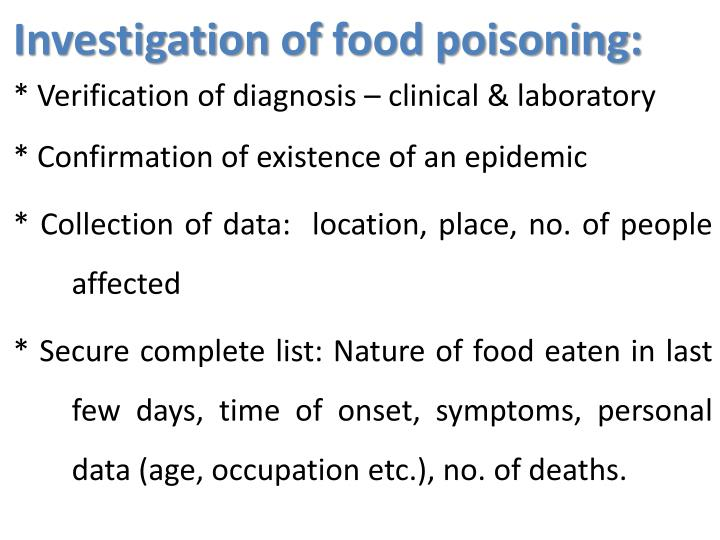 Investigation of food poisoning: