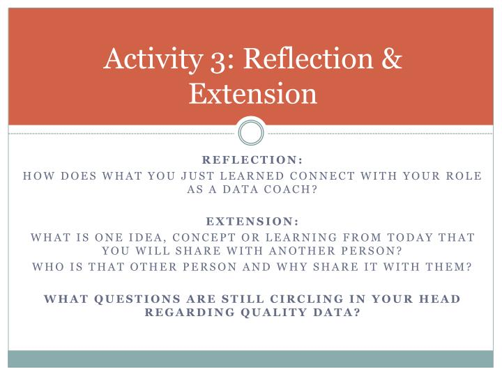 Activity 3: Reflection & Extension