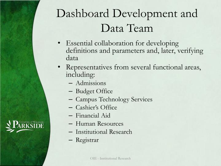Dashboard Development and Data Team