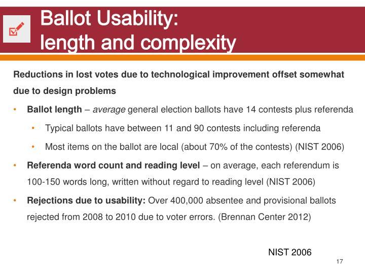 Ballot Usability: