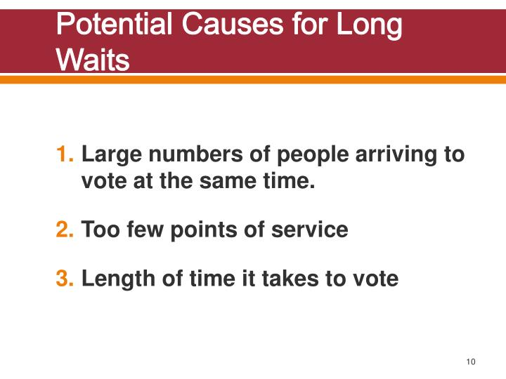 Potential Causes for Long Waits