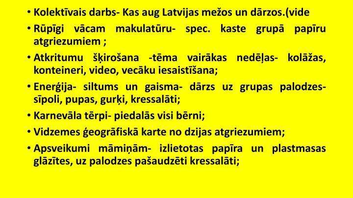 Kolektvais darbs- Kas aug Latvijas meos un drzos.(