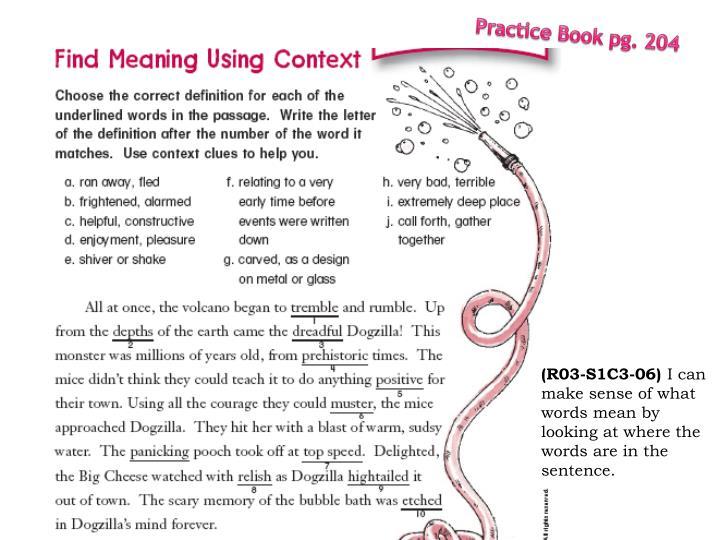 Practice Book pg. 204