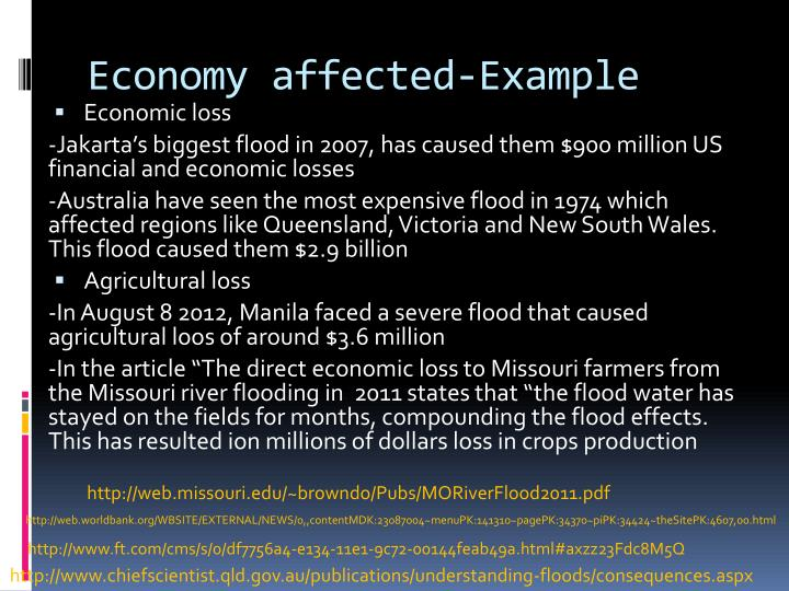 Economy affected-Example