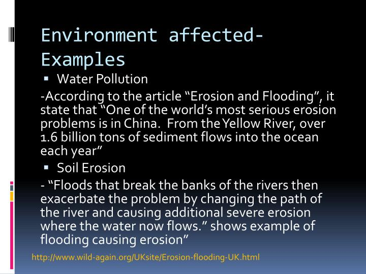 Environment affected-Examples