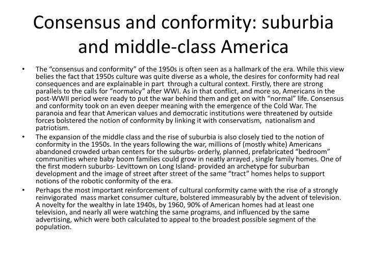 Consensus and conformity: suburbia and middle-class America