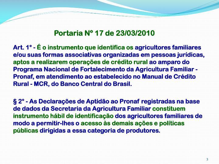 Portaria Nº 17 de 23/03/2010