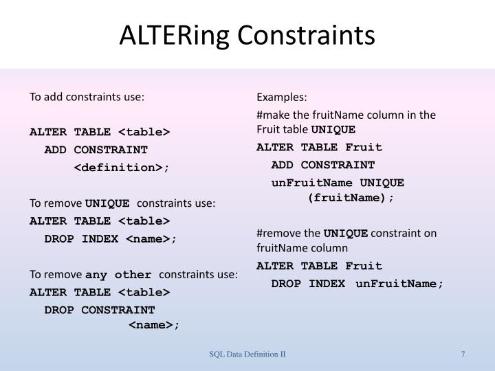 ALTERing Constraints