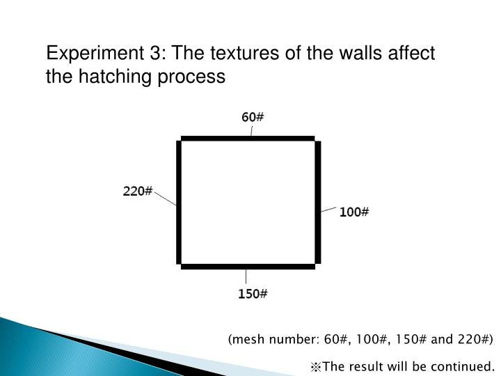 Experiment 3: The textures of the walls affect the hatching process