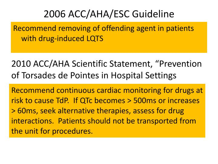 2006 ACC/AHA/ESC Guideline