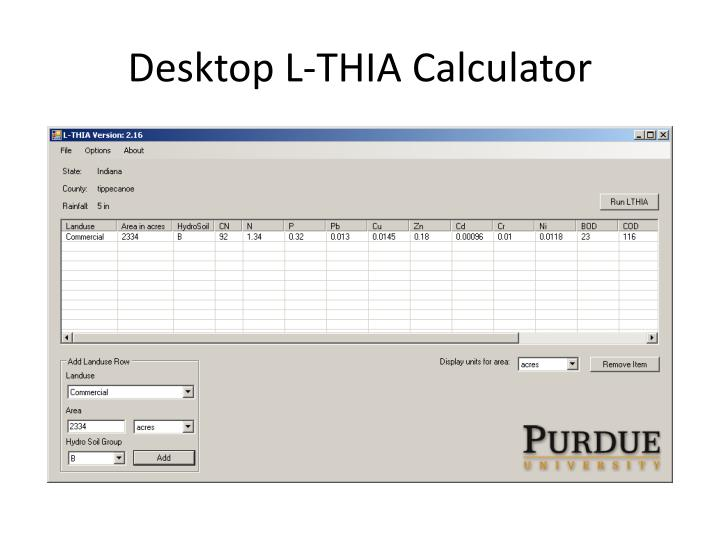 Desktop L-THIA Calculator