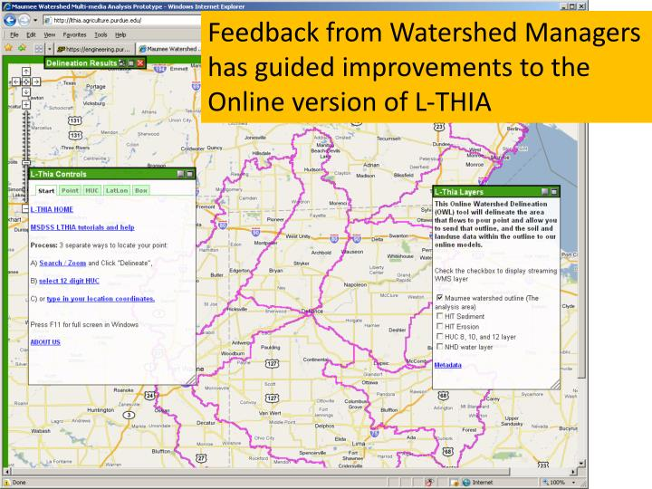 Feedback from Watershed Managers has guided improvements to the Online version of L-THIA