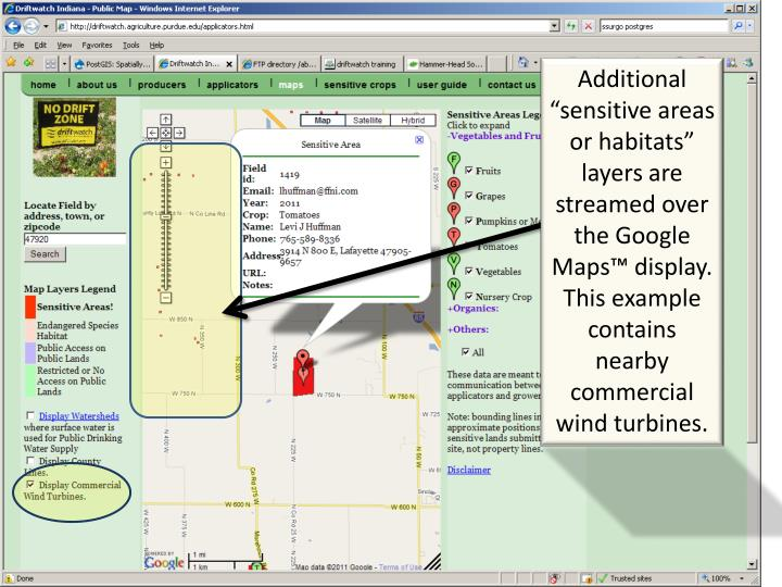 "Additional ""sensitive areas or habitats"" layers are streamed over the Google Maps™ display."