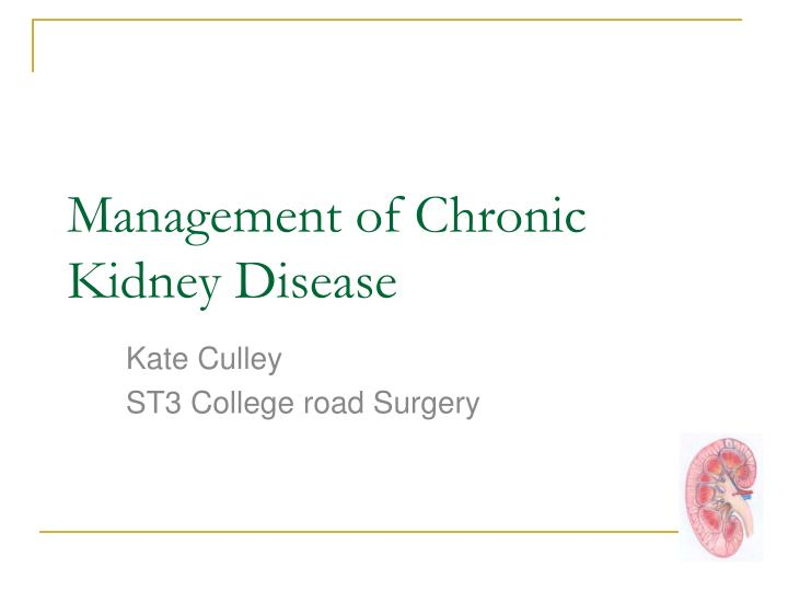 Management of chronic kidney disease