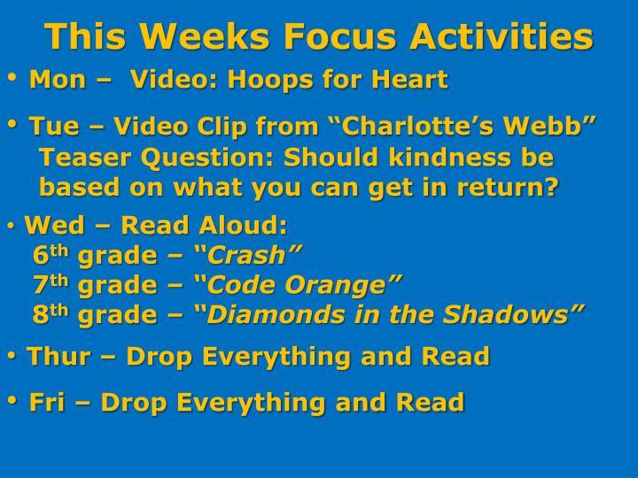 This Weeks Focus Activities
