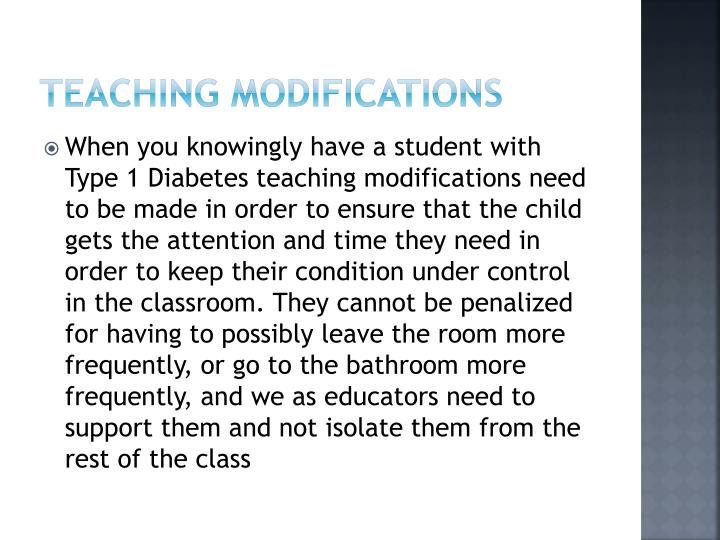 Teaching modifications